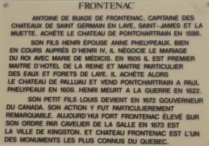 Frontenac plaque